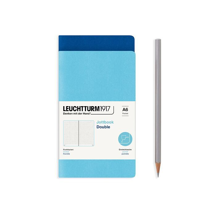 Jottbook (A6), 59 pages numérotées, pointillé, Bleu Royale et Ice Blue, Set de 2