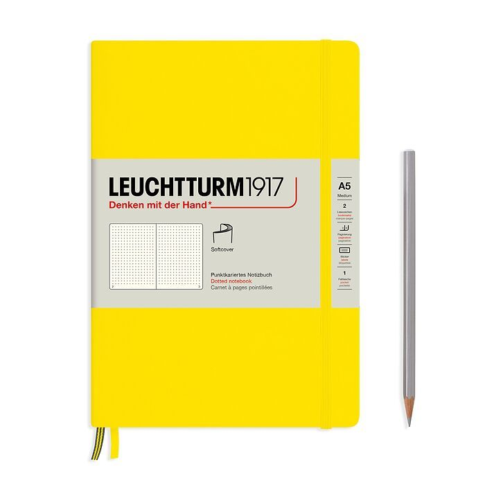 Notebook Medium (A5), Softcover, 123 numbered pages, Lemon,  dotted