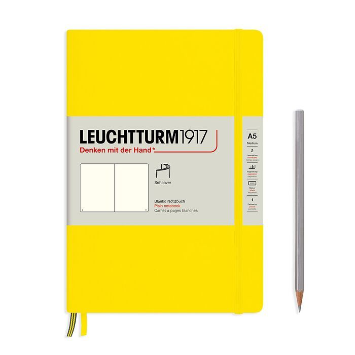 Notebook Medium (A5), Softcover, 123 numbered pages, Lemon,  plain