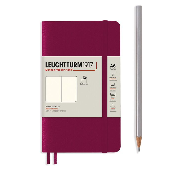 Notebook Pocket (A6), Softcover, 123 numbered pages, Port Red,  plain