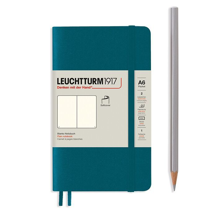 Notebook Pocket (A6), Softcover, 123 numbered pages, Pacific Green, plain