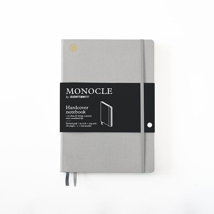 Notebook B5 Monocle, Hardcover, 192 numbered pages, Light Grey, dotted