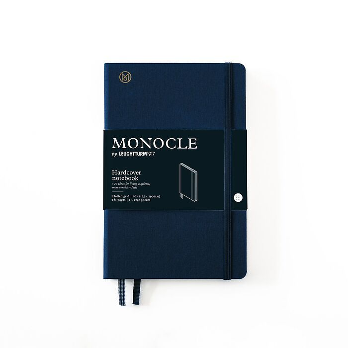 Notebook B6+ Monocle, Hardcover, 192 numbered pages, Navy, dotted