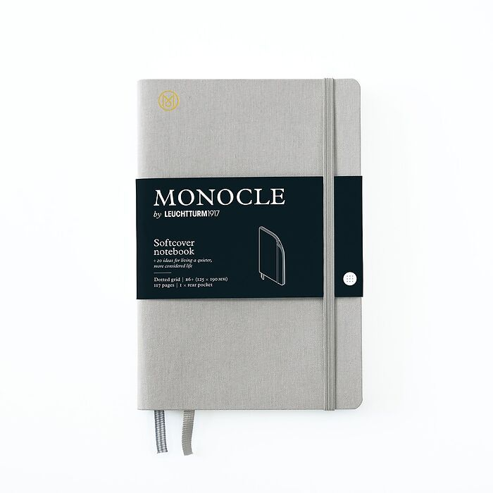 Notebook B6+ Monocle, Softcover, 128 numbered pages, Light Grey, dotted