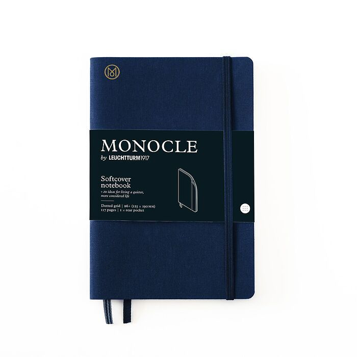 Notebook B6+ Monocle, Softcover, 128 numbered pages, Navy, dotted