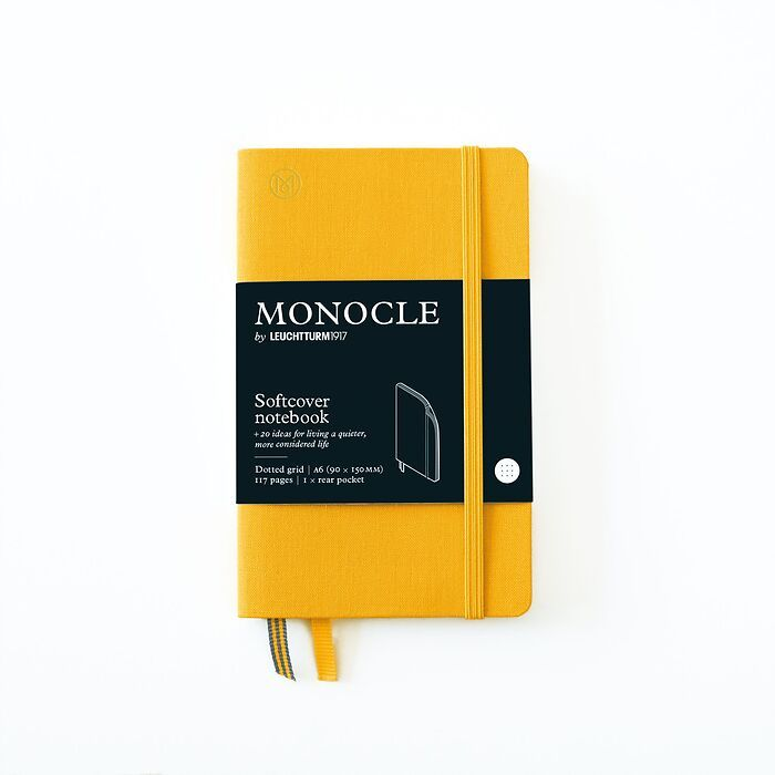 Notebook A6 Monocle, Softcover, 128 numbered pages, Yellow, dotted