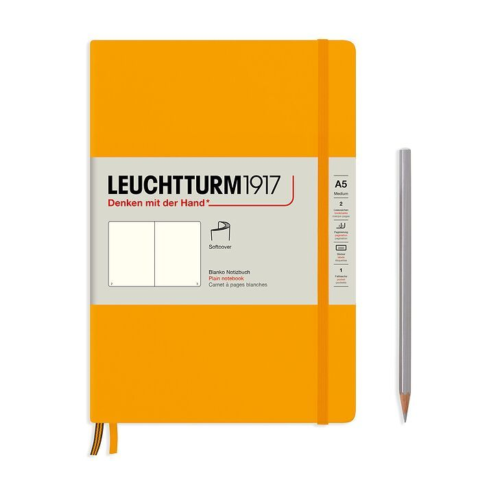 Notebook Medium (A5), Softcover, 123 numbered pages, Rising Sun, plain