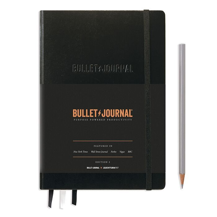 Bullet Journal Edition 2, Medium (A5), Hardcover, 206 numbered pages, Black, dotted