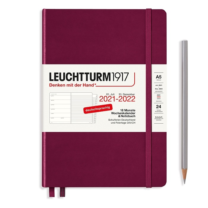 Weekly Planner & Notebook Medium (A5) 2022, with booklet, 18 Months, Port Red, German