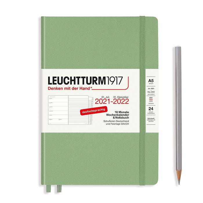Weekly Planner & Notebook Medium (A5) 2022, with booklet, 18 Months, Sage, German