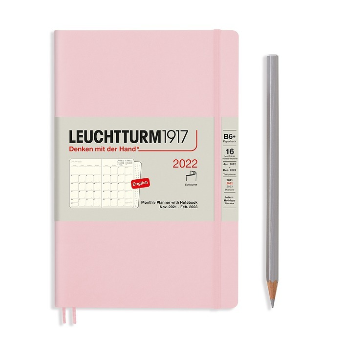 Monthly Planner & Notebook Paperback (B6+) 2022, 16 Months, Softcover, Powder, English