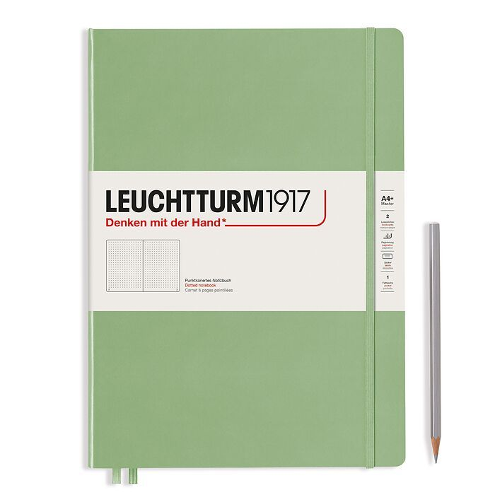 Notebook Master Slim (A4+), Hardcover, 123 numbered pages, Sage, dotted