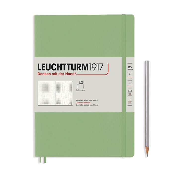 Notebook Composition (B5), Softcover, 123 numbered pages, Sage, dotted