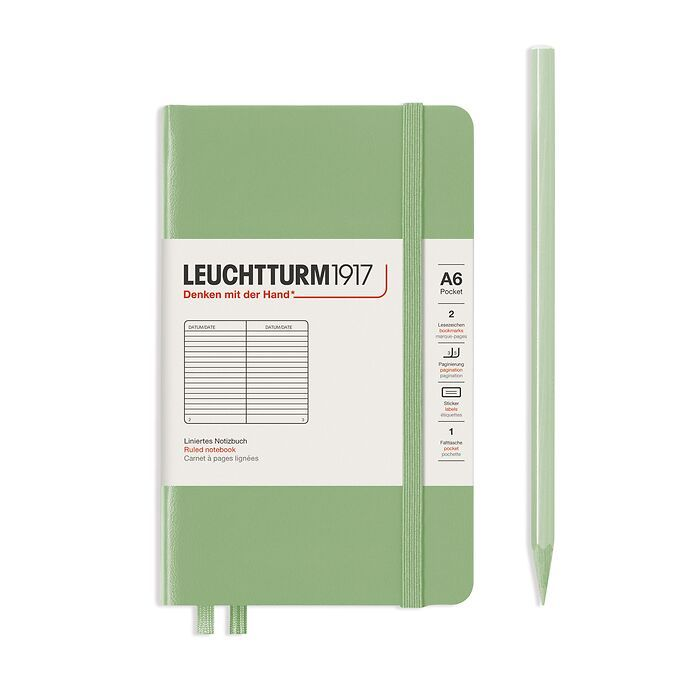 Notebook Pocket (A6), Hardcover, 187 numbered pages, Sage, ruled