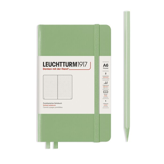 Notebook Pocket (A6), Hardcover, 187 numbered pages, Sage, dotted