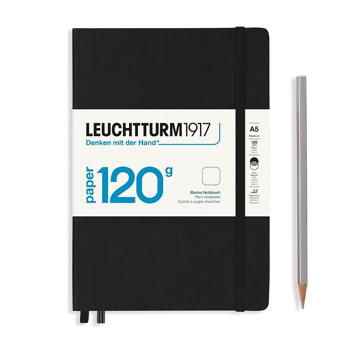 Notebook Medium (A5), EDITION 120, Hardcover, 203 numbered pages, Black, plain