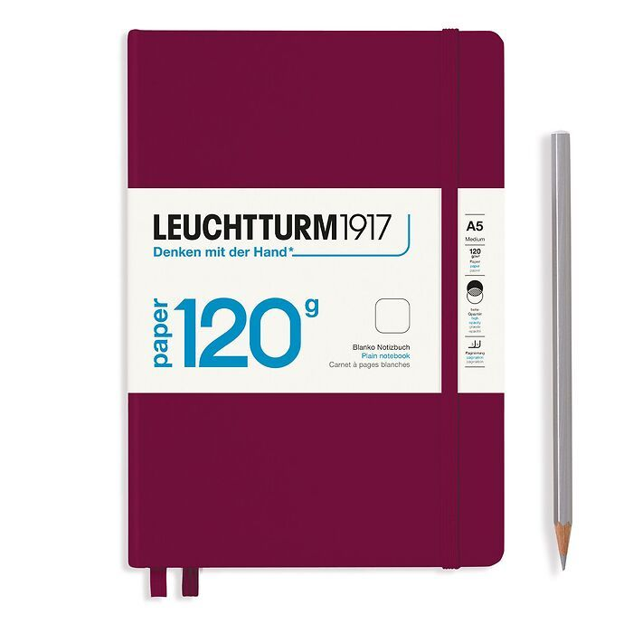 Notebook Medium (A5), EDITION 120, Hardcover, 203 numbered pages, Port Red, plain