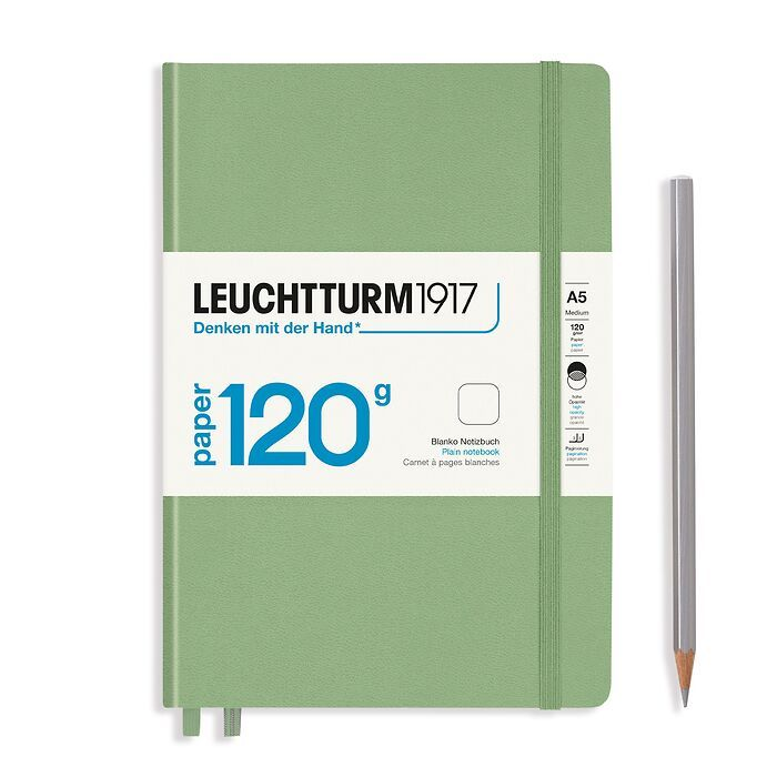 Notebook Medium (A5), EDITION 120, Hardcover, 203 numbered pages, Sage, plain