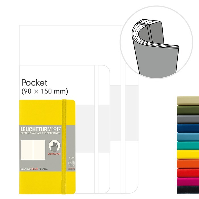 Notebook Pocket (A6), Softcover, 123 numbered pages