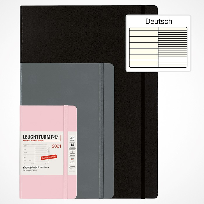 Weekly Planner & Notebook 2021 with booklet for addresses and birthdays, German