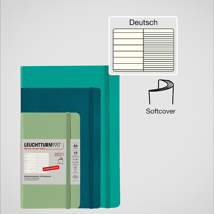 Weekly Planner & Notebook Softcover 2021, Softcover, German