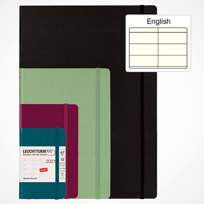 Weekly Planner 2021 with booklet for addresses and birthdays, English