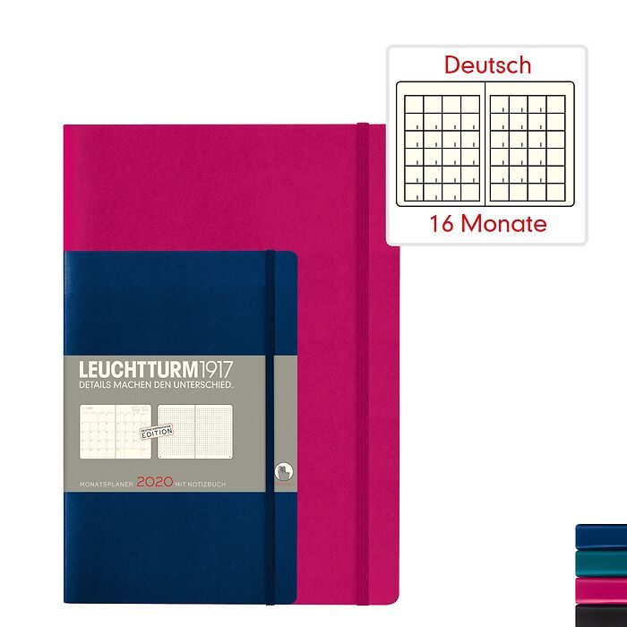 Monthly Planner & Notebook 2020 - Softcover - German